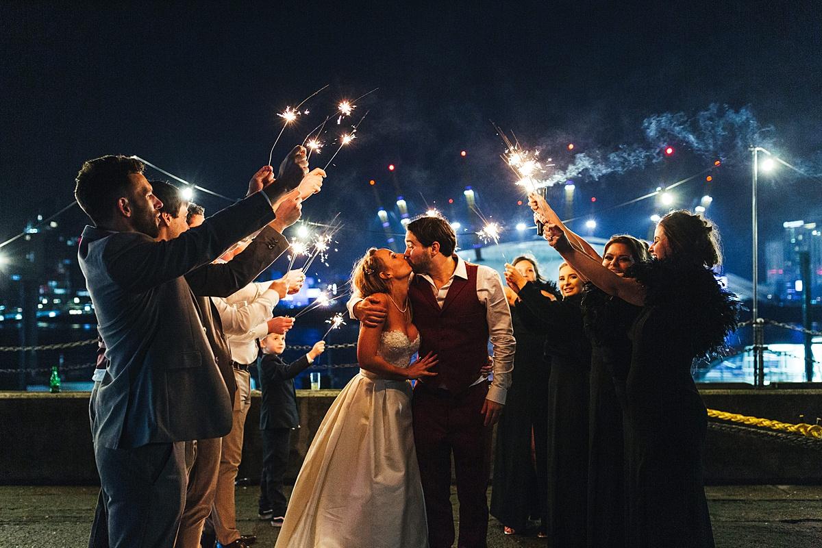 NYE Wedding Trinity Buoy Wharf sparklers
