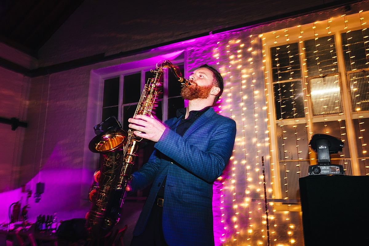 NYE Wedding Trinity Buoy Wharf saxophone party