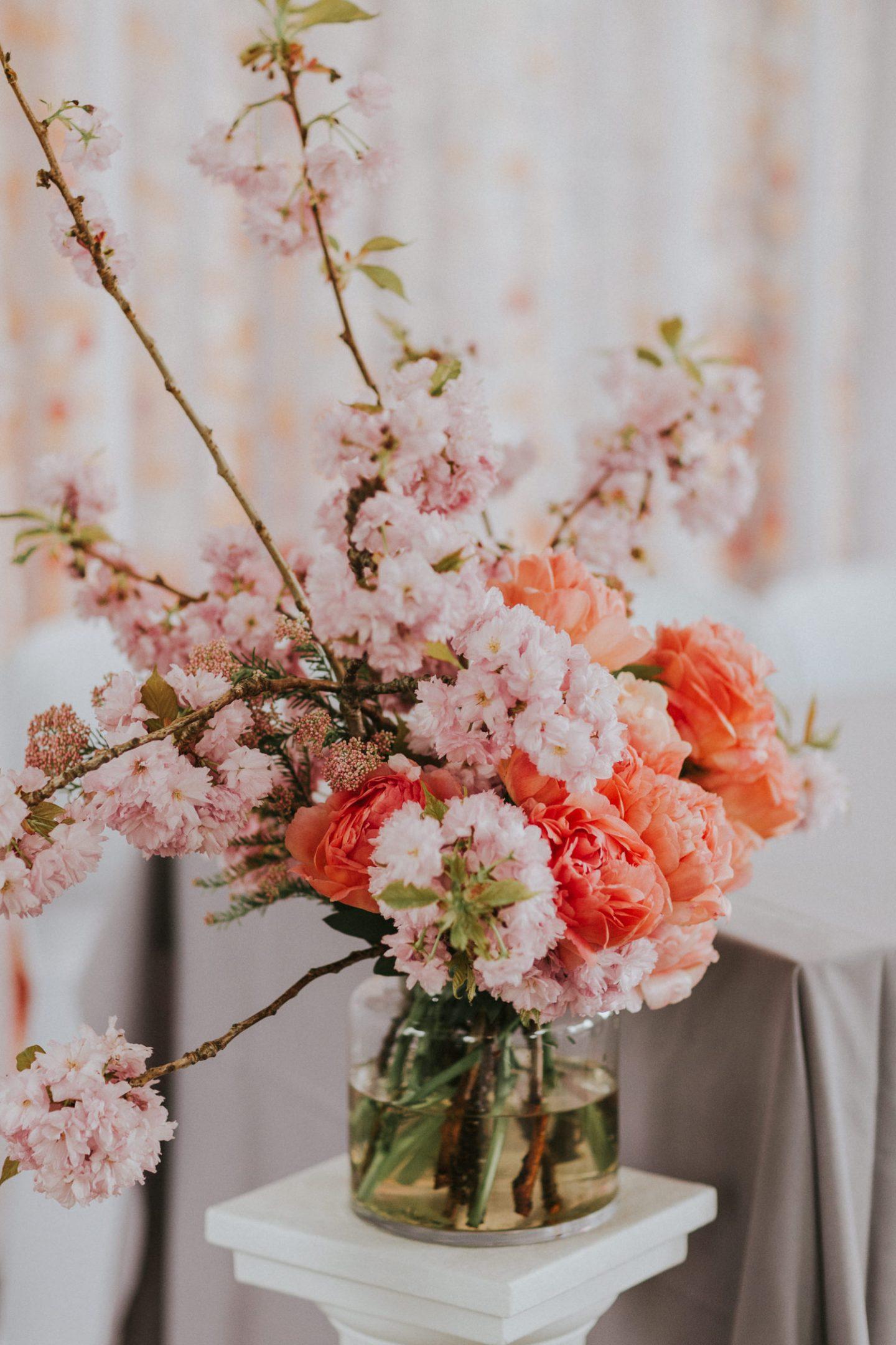 Sally Sweet Pea Rosa modern wedding flowers cherry blossom