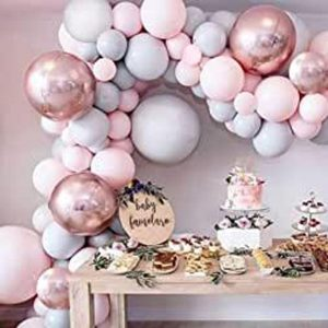 Miseagan 36PCS Balloon Garland Kit Macaron Grey & Pink Latex Balloon 4D Foil Balloons, Wedding Baby Shower Birthday (100 Points Glue Dots+16ft Balloon Arch Tape Chain+Balloon Tying Tool Included)