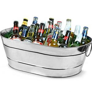 bar@drinkstuff Galvanised Steel Oval Party Tub Large for a Rustic Drinks Service