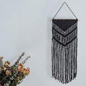 Koitoy Macrame Wall Hanging Macrame Tapestry Bohemian Woven Wall Art Boho Wall Decor for Bedroom Living Room (Black)
