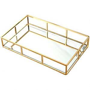 PuTwo Mirrored Tray, Perfume Tray Candle Tray Mirror Tray Table Gold Ornate Tray Gold Vanity Tray Gold Drinks Tray Metal Mirror Tray Gold Finish Gold Tray for Vanity, Dresser, Bathroom, Bedroom