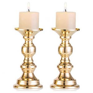 Set of 2 Gold Metal Pillar Candle Holders, Wedding Centerpieces Candlestick Holders for 50mm Candles Stand Decoration Ideal for Weddings, Special Events, Parties (Fit 50mm Dia Canlde 15cm H, 2 Pcs)