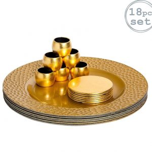 Argon Tableware Round Charger Plates, Coasters & Napkin Rings Set In Gold – Set Of 18 (6 Hammered Edge Plates, 6 Coasters, 6 Napkins Rings)