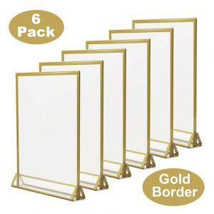 TOROTON Acrylic Sign Holder, Golden Side T Shaped Double Sided Ad Display for Wedding Party Display – 6 Pack (5 x 7 inch/17.8 x 12.7 cm)