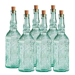 Country Home Fiesole Bottle 25.3oz / 720ml – Set of 6 – Vintage Green Glass Storage Bottle with Cork