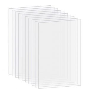 PP OPOUNT 10 Pieces Transparent Clear Acrylic Sheets (8 inch x 10 inch) 0.04 inch Thick for Picture Frame Glass Replacement, Table Signs, Calligraphy and Painting