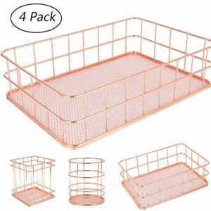 AKUKA Metal Storage Baskets, 4-Pack Mesh Wire Basket Set Iron Hollow Makeup Brush Holder Multi Purpose Desktop Organizer for Bathroom Bedroom Office Kitchen Living room (Rose Gold)